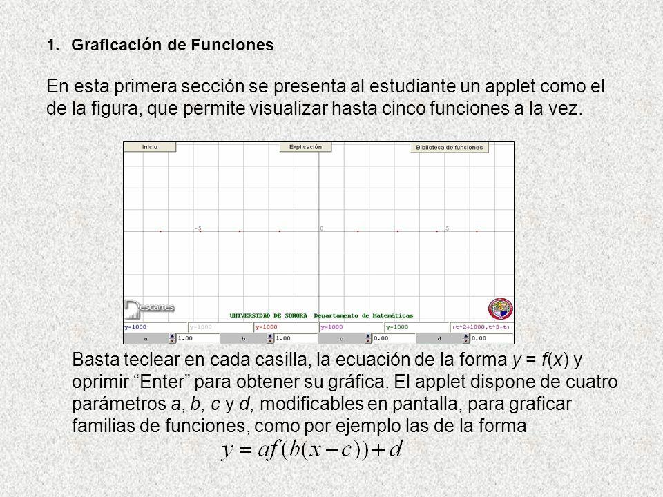 1.Graficación de Funciones En esta primera sección se presenta al estudiante un applet como el de la figura, que permite visualizar hasta cinco funcio