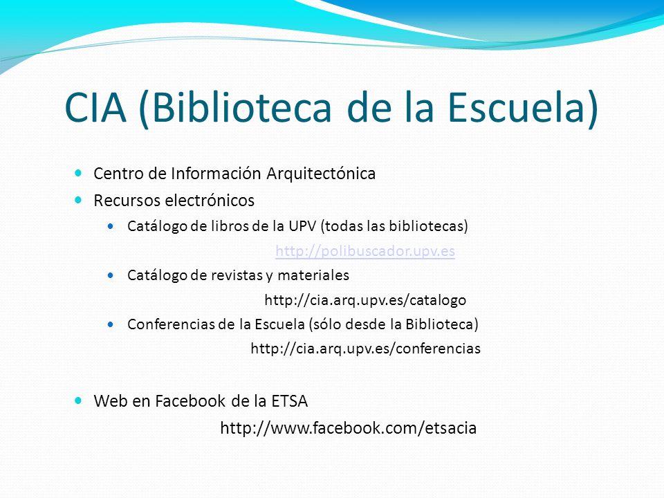 CIA (Biblioteca de la Escuela) Centro de Información Arquitectónica Recursos electrónicos Catálogo de libros de la UPV (todas las bibliotecas) http://