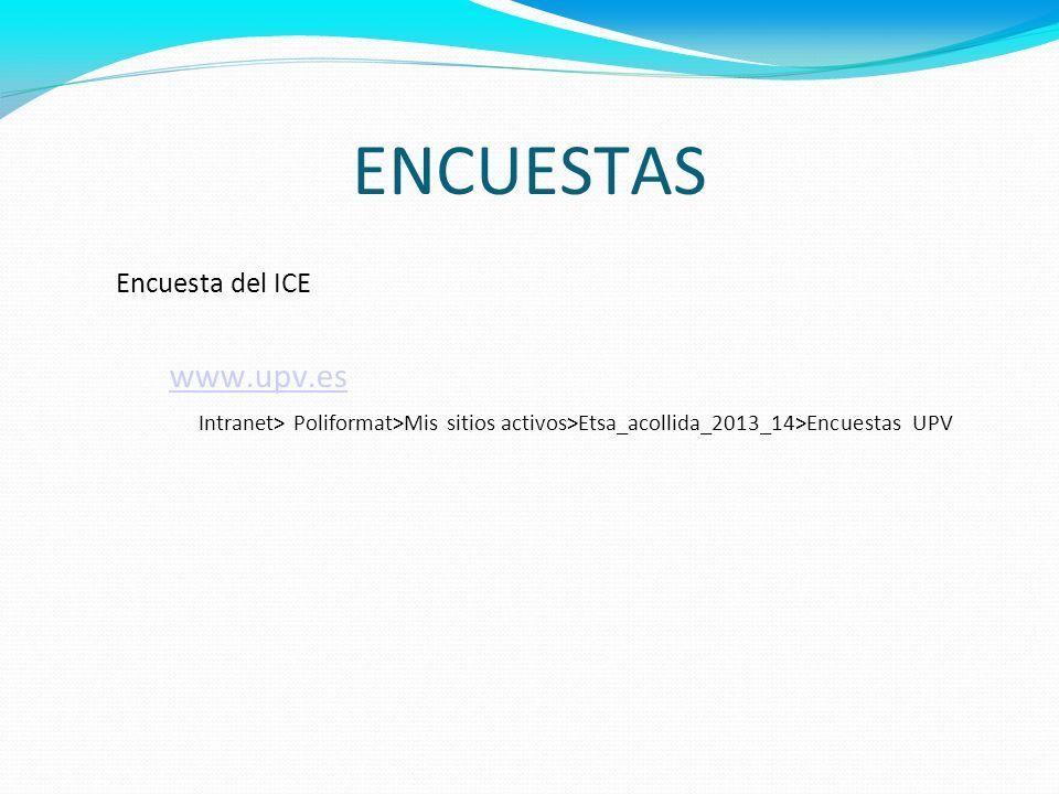 ENCUESTAS Encuesta del ICE www.upv.es Intranet> Poliformat>Mis sitios activos>Etsa_acollida_2013_14>Encuestas UPV