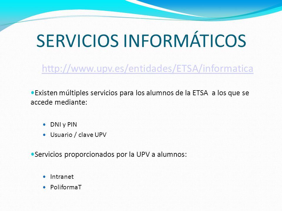 SERVICIOS INFORMÁTICOS http://www.upv.es/entidades/ETSA/informatica Existen múltiples servicios para los alumnos de la ETSA a los que se accede median