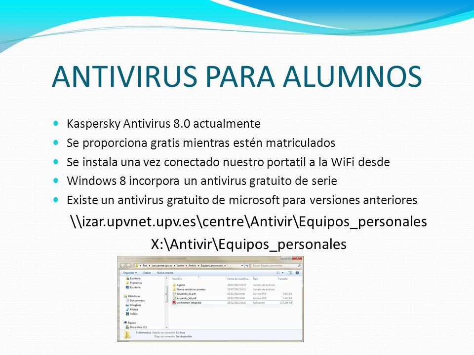 ANTIVIRUS PARA ALUMNOS Kaspersky Antivirus 8.0 actualmente Se proporciona gratis mientras estén matriculados Se instala una vez conectado nuestro port