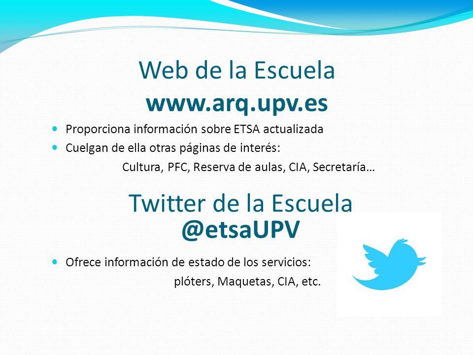Web de la Escuela www.arq.upv.es Proporciona información sobre ETSA actualizada Cuelgan de ella otras páginas de interés: Cultura, PFC, Reserva de aul