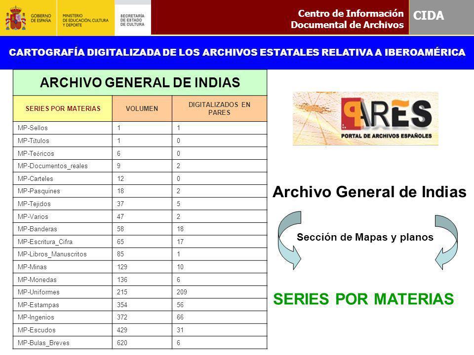 Centro de Información Documental de Archivos CIDA CARTOGRAFÍA DIGITALIZADA DE LOS ARCHIVOS ESTATALES RELATIVA A IBEROAMÉRICA ARCHIVO GENERAL DE INDIAS