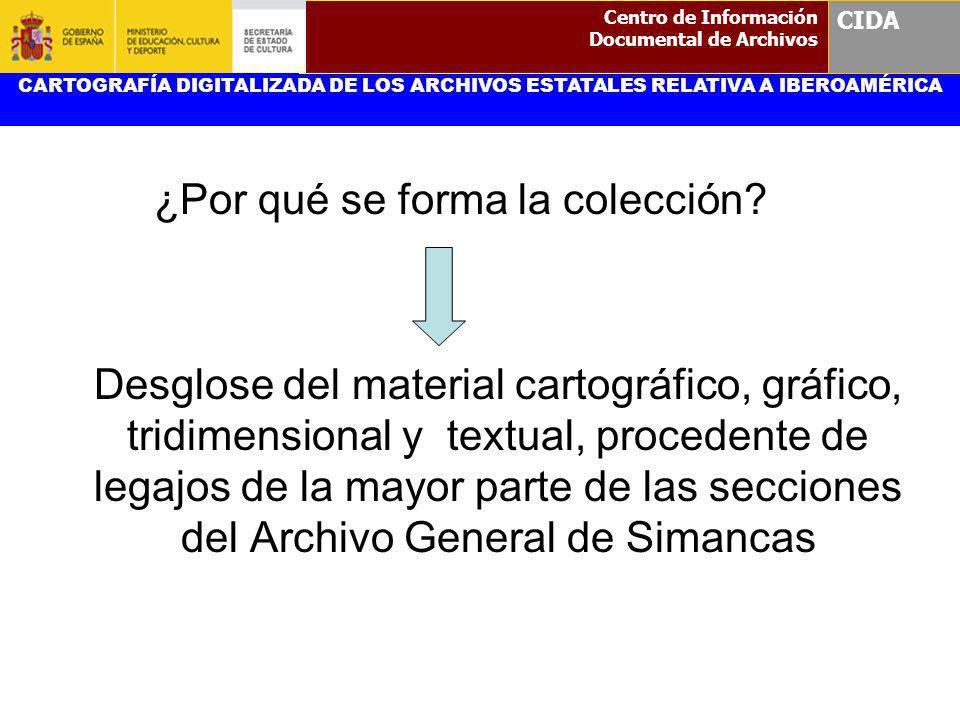 ¿Por qué se forma la colección? Desglose del material cartográfico, gráfico, tridimensional y textual, procedente de legajos de la mayor parte de las