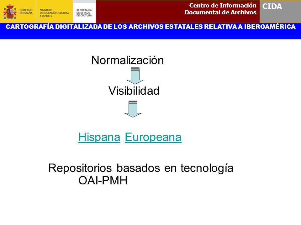 Normalización Visibilidad HispanaHispana EuropeanaEuropeana Repositorios basados en tecnología OAI-PMH CARTOGRAFÍA DIGITALIZADA DE LOS ARCHIVOS ESTATA