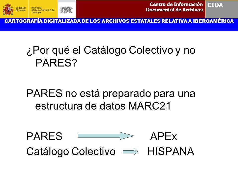 ¿Por qué el Catálogo Colectivo y no PARES? PARES no está preparado para una estructura de datos MARC21 PARES APEx Catálogo Colectivo HISPANA CARTOGRAF