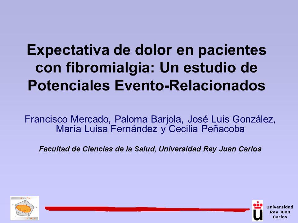 N1: Mayor amplitud del componente en el grupo de pacientes con fibromialgia Resultados: ANOVAs (I) * Diferencias significativas (p< 0.05) * Electrodos Región parieto- occipital Universidad Rey Juan Carlos