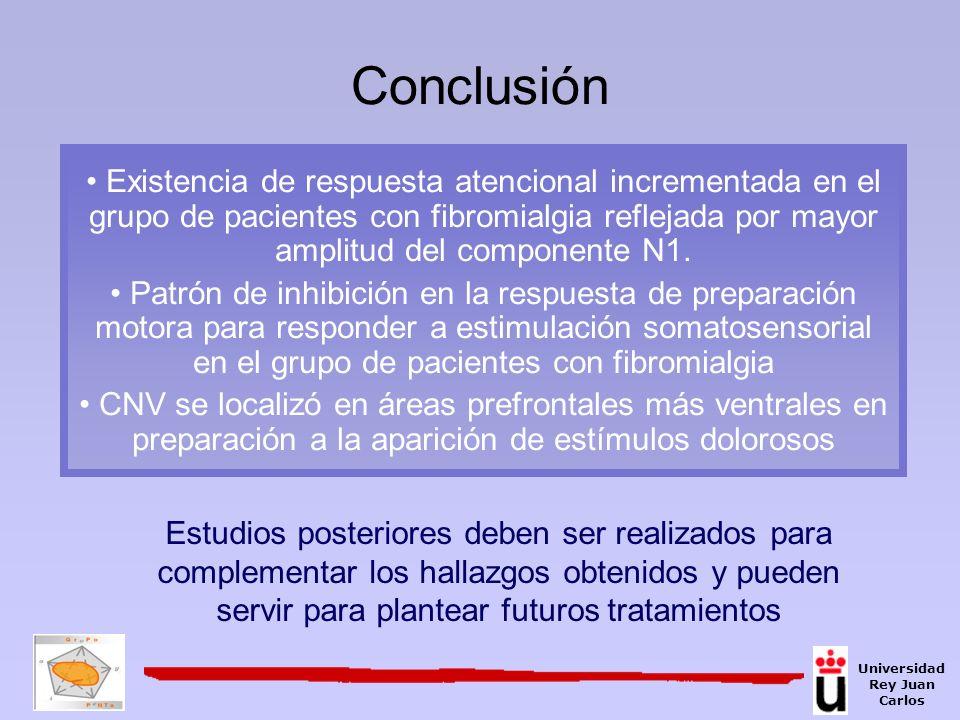 Existencia de respuesta atencional incrementada en el grupo de pacientes con fibromialgia reflejada por mayor amplitud del componente N1. Patrón de in