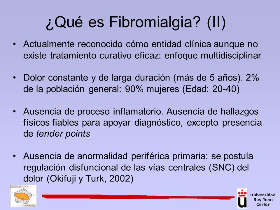 Componentes dolor crónico (Melzack y Wall, 1965) Sensorial-discriminativo Motivacional-afectivo Cognitivo-evaluativo Atención Universidad Rey Juan Carlos