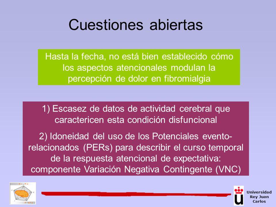 Cuestiones abiertas Hasta la fecha, no está bien establecido cómo los aspectos atencionales modulan la percepción de dolor en fibromialgia 1) Escasez