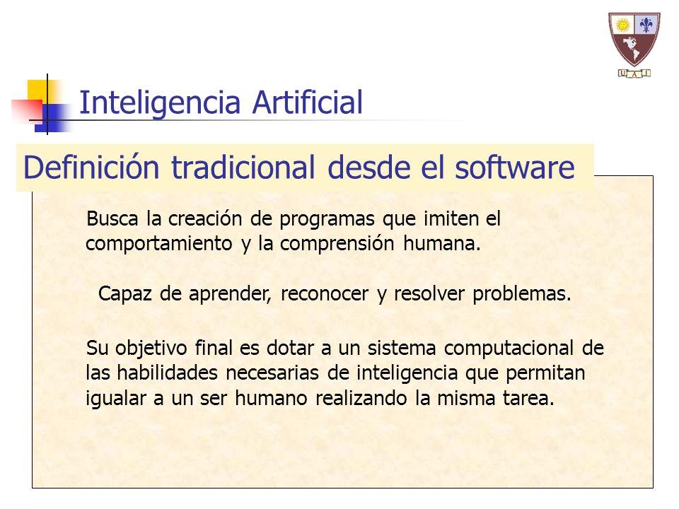 Inteligencia Artificial Busca la creación de programas que imiten el comportamiento y la comprensión humana.