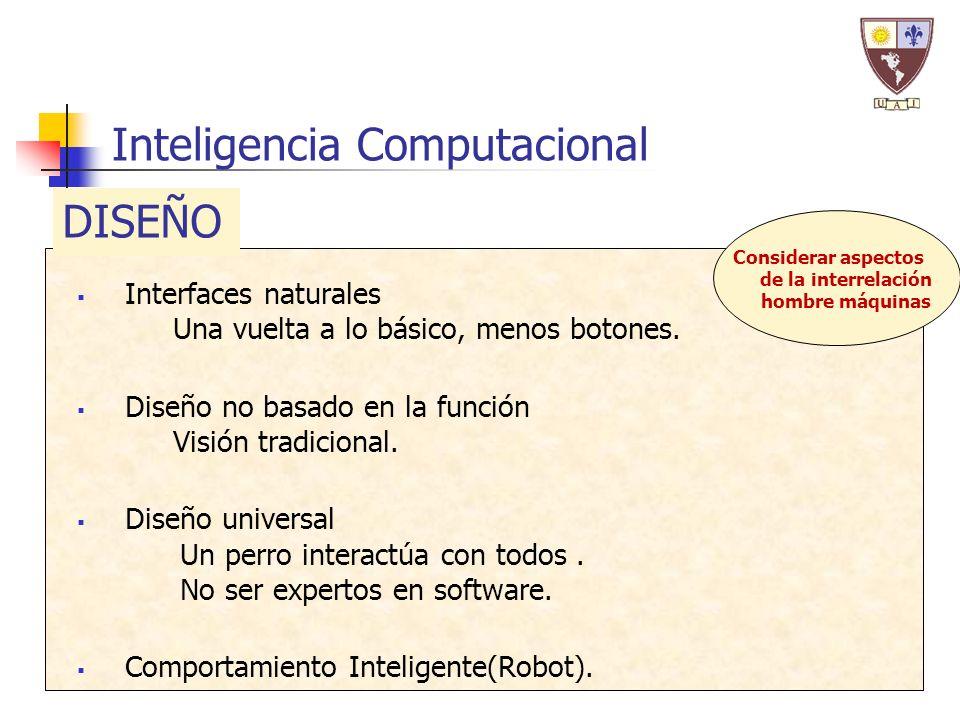 Inteligencia Computacional Interfaces naturales Una vuelta a lo básico, menos botones. Diseño no basado en la función Visión tradicional. Diseño unive