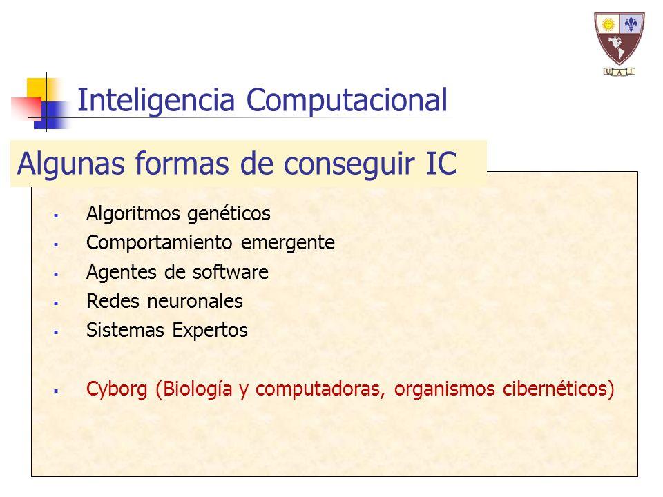Inteligencia Computacional Algoritmos genéticos Comportamiento emergente Agentes de software Redes neuronales Sistemas Expertos Cyborg (Biología y computadoras, organismos cibernéticos) Algunas formas de conseguir IC