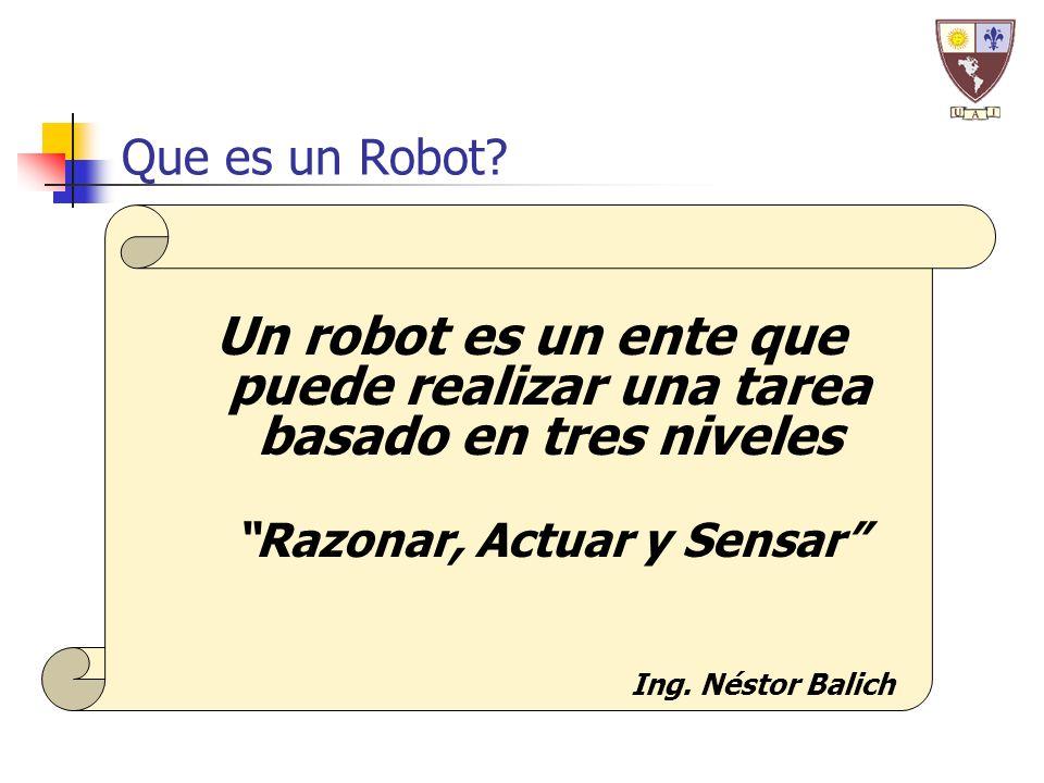Un robot es un ente que puede realizar una tarea basado en tres niveles Razonar, Actuar y Sensar Que es un Robot? Ing. Néstor Balich