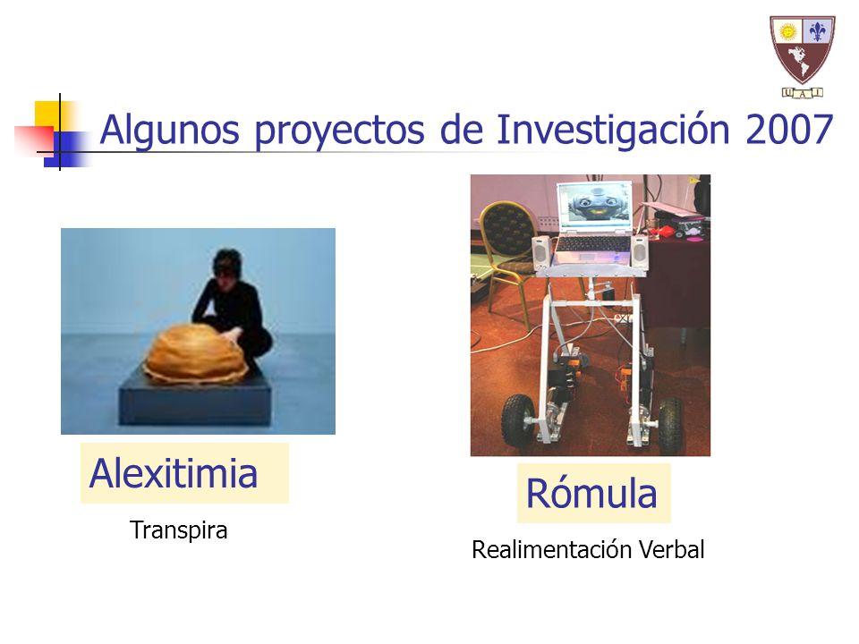 Alexitimia Algunos proyectos de Investigación 2007 Rómula Transpira Realimentación Verbal