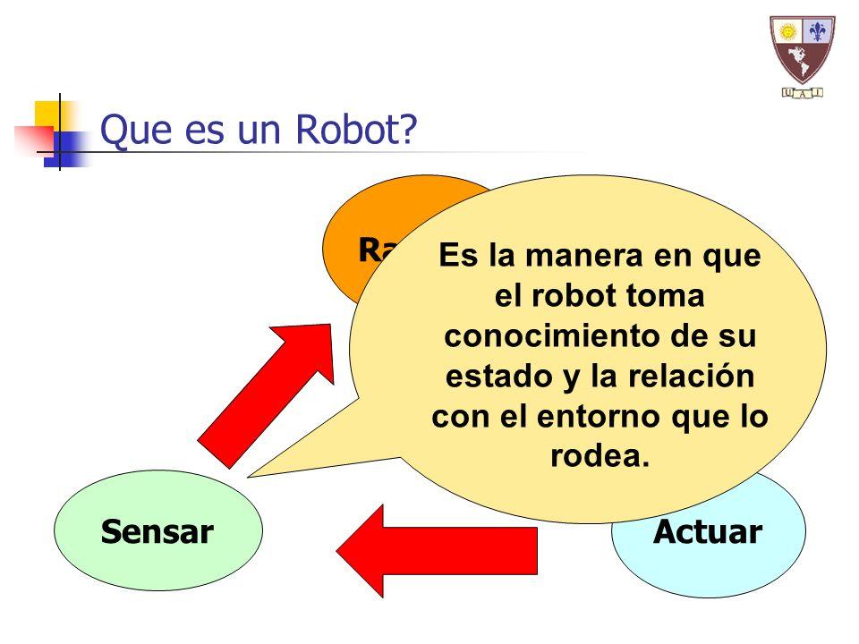 Sensar Razonar Actuar Que es un Robot? Es la manera en que el robot toma conocimiento de su estado y la relación con el entorno que lo rodea.