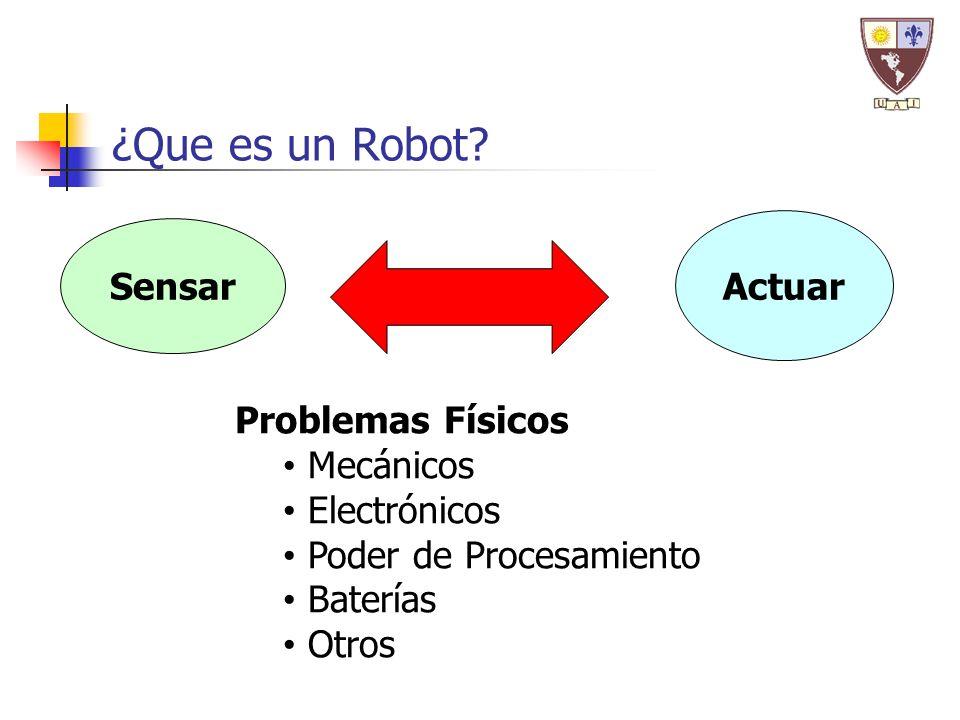 ¿Que es un Robot? Problemas Físicos Mecánicos Electrónicos Poder de Procesamiento Baterías Otros Sensar Actuar