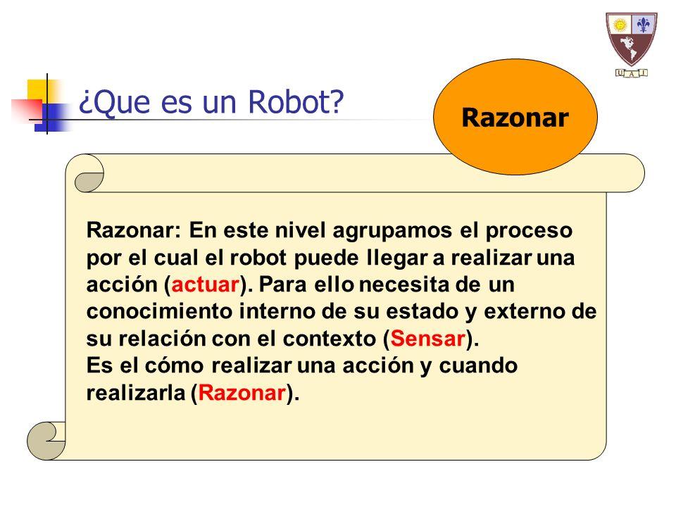 ¿Que es un Robot? Razonar: En este nivel agrupamos el proceso por el cual el robot puede llegar a realizar una acción (actuar). Para ello necesita de