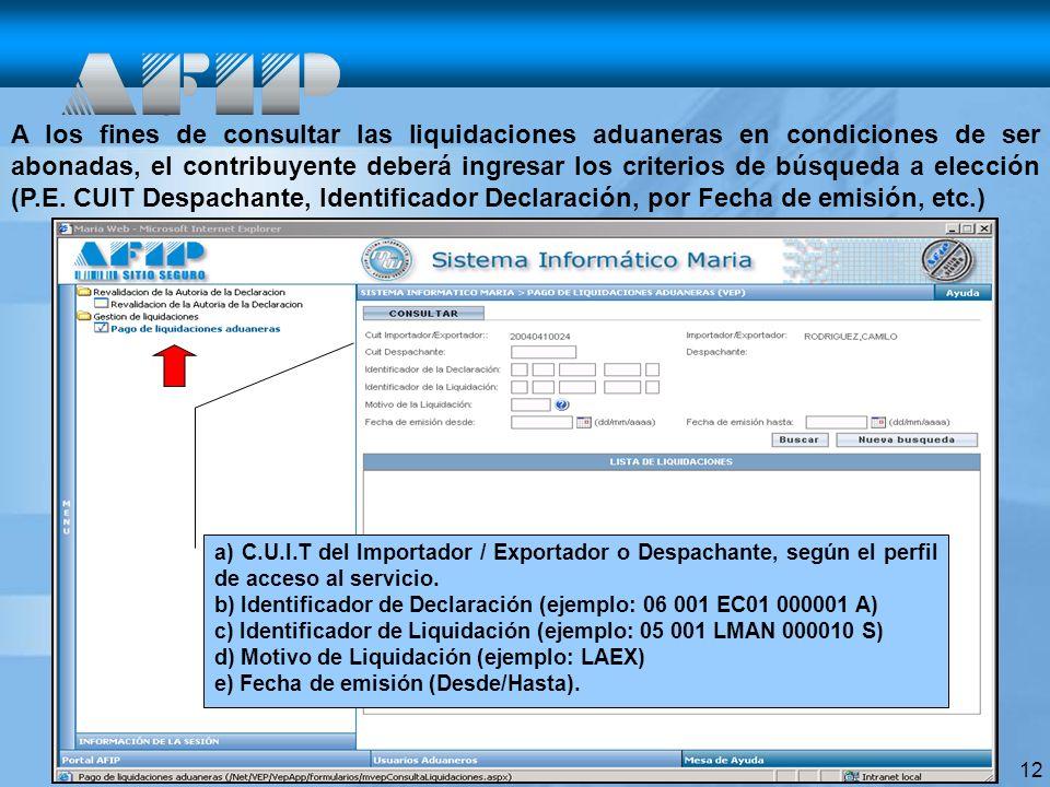 12 A los fines de consultar las liquidaciones aduaneras en condiciones de ser abonadas, el contribuyente deberá ingresar los criterios de búsqueda a elección (P.E.
