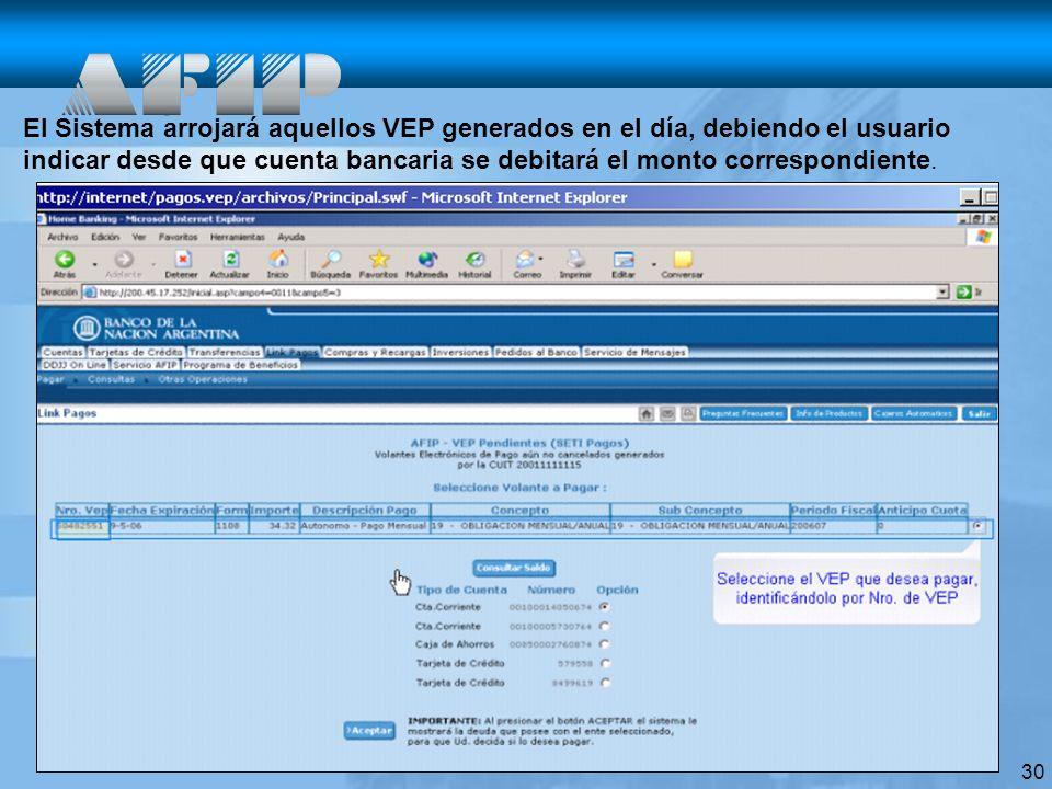 30 El Sistema arrojará aquellos VEP generados en el día, debiendo el usuario indicar desde que cuenta bancaria se debitará el monto correspondiente.