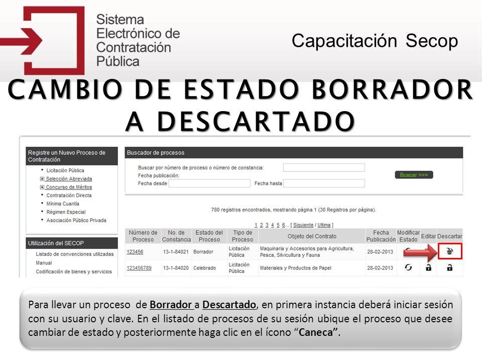 CAMBIO DE ESTADO BORRADOR A DESCARTADO Para llevar un proceso de Borrador a Descartado, en primera instancia deberá iniciar sesión con su usuario y cl