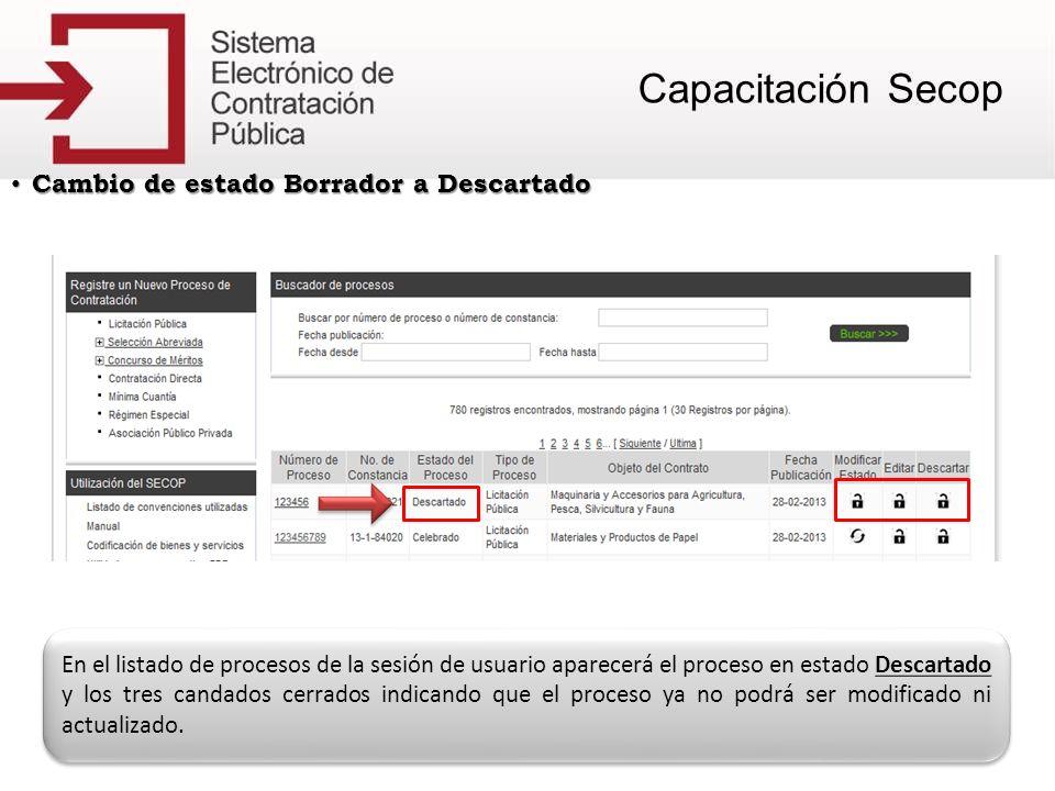 Cambio de estado Borrador a Descartado Cambio de estado Borrador a Descartado En el listado de procesos de la sesión de usuario aparecerá el proceso e