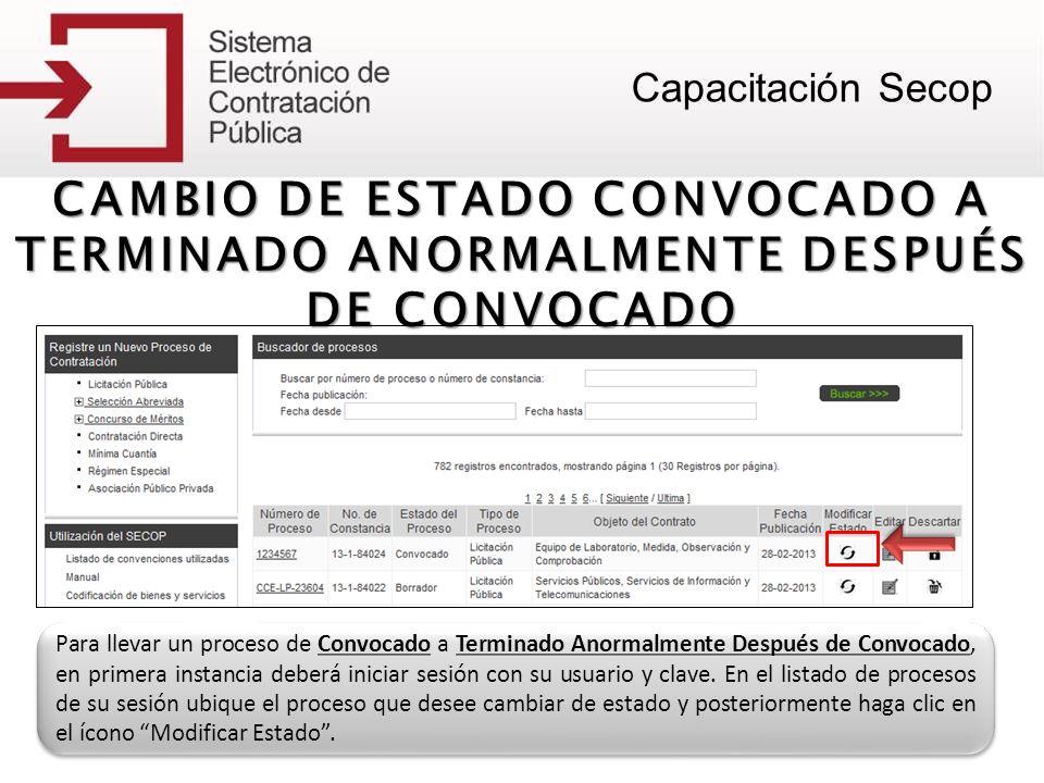 CAMBIO DE ESTADO CONVOCADO A TERMINADO ANORMALMENTE DESPUÉS DE CONVOCADO Para llevar un proceso de Convocado a Terminado Anormalmente Después de Convo