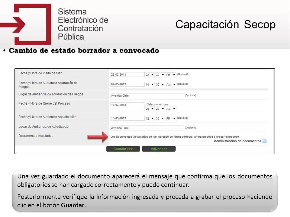 Adicionar contratos Adicionar contratos Una vez guardado el documento aparecerá el mensaje que confirma que los documentos obligatorios se han cargado correctamente y puede continuar.