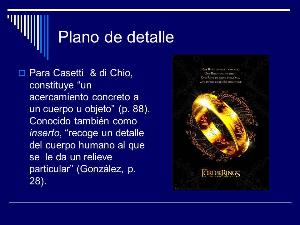 Plano de detalle Para Casetti & di Chio, constituye un acercamiento concreto a un cuerpo u objeto (p. 88). Conocido también como inserto, recoge un de