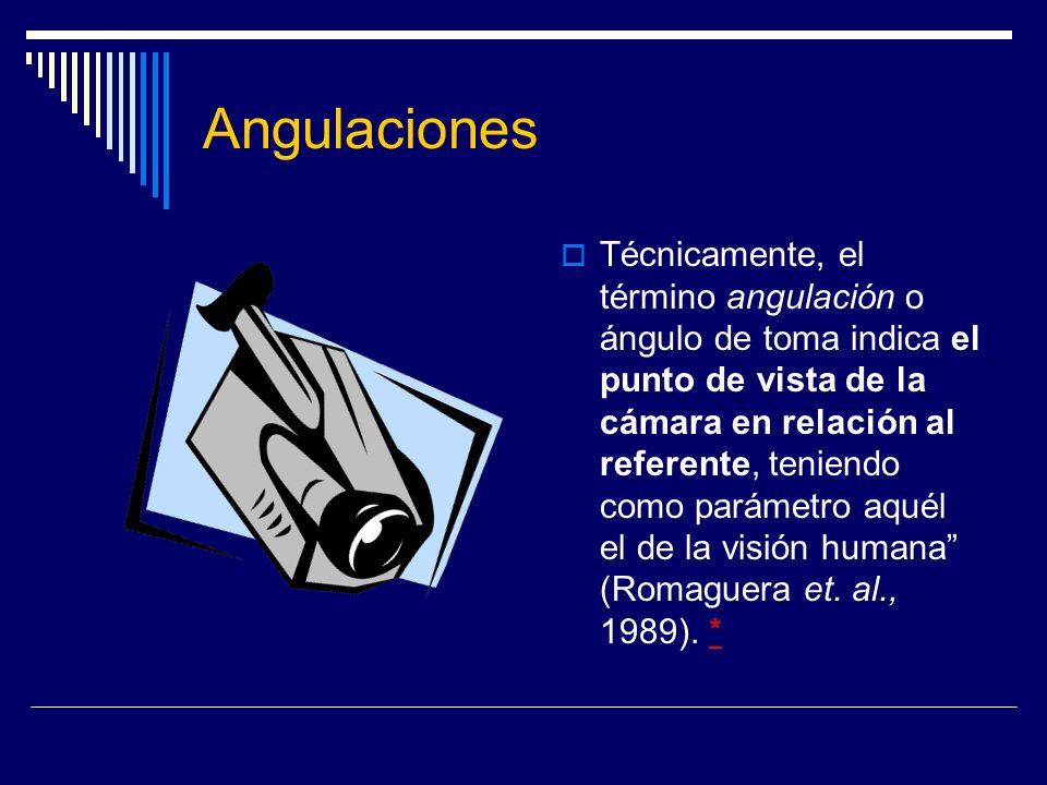 Angulaciones Técnicamente, el término angulación o ángulo de toma indica el punto de vista de la cámara en relación al referente, teniendo como paráme