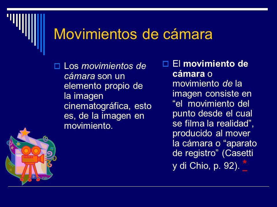 Movimientos de cámara Los movimientos de cámara son un elemento propio de la imagen cinematográfica, esto es, de la imagen en movimiento. El movimient