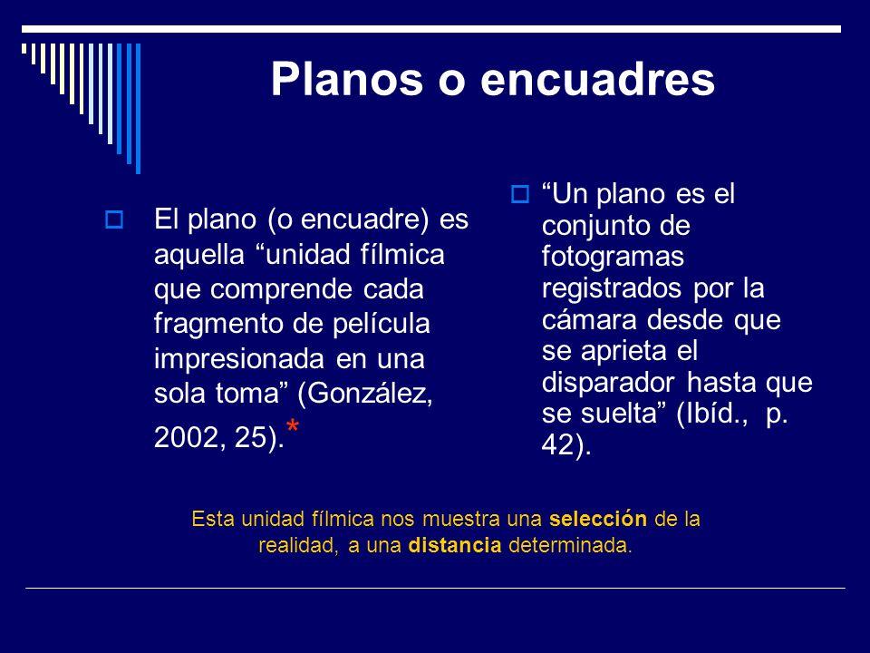 Planos o encuadres El plano (o encuadre) es aquella unidad fílmica que comprende cada fragmento de película impresionada en una sola toma (González, 2