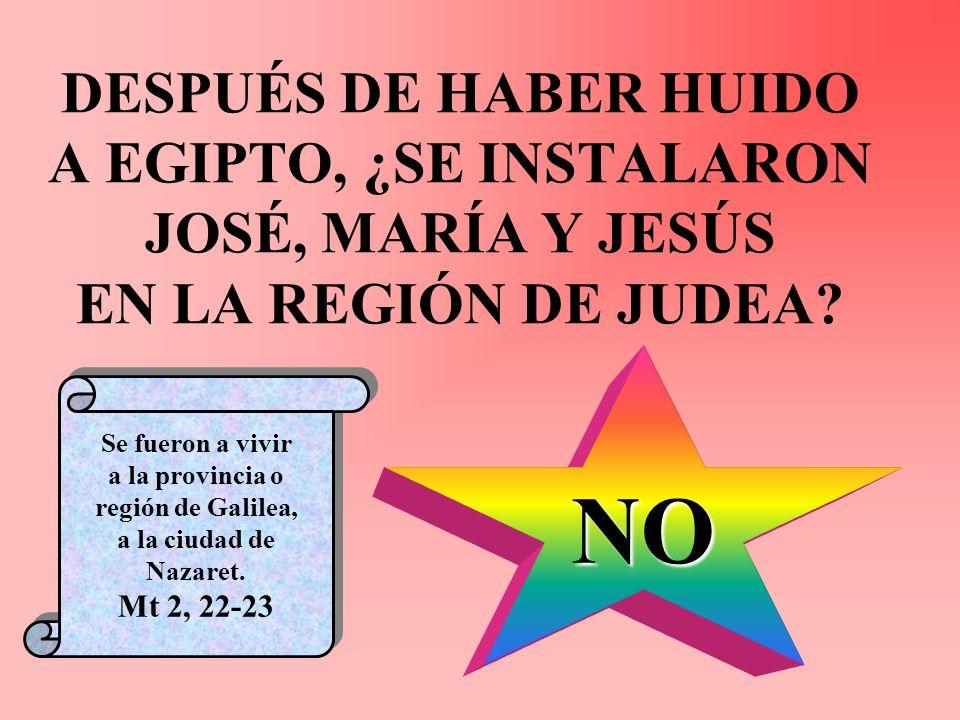 DESPUÉS DE HABER HUIDO A EGIPTO, ¿SE INSTALARON JOSÉ, MARÍA Y JESÚS EN LA REGIÓN DE JUDEA? NO Se fueron a vivir a la provincia o región de Galilea, a