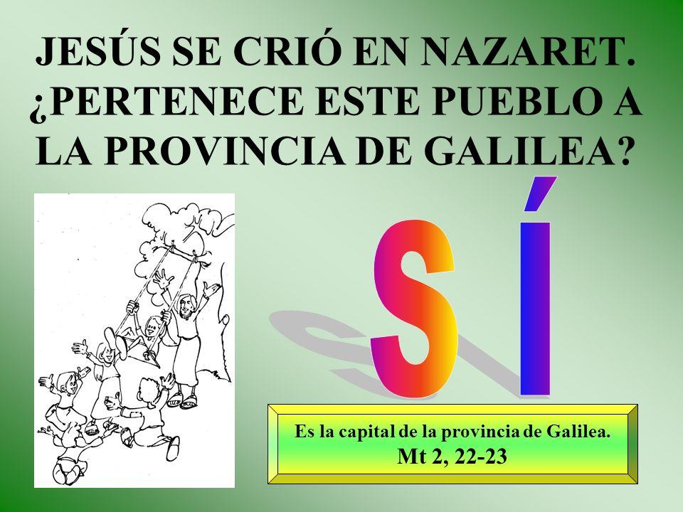 JESÚS SE CRIÓ EN NAZARET. ¿PERTENECE ESTE PUEBLO A LA PROVINCIA DE GALILEA? Es la capital de la provincia de Galilea. Mt 2, 22-23