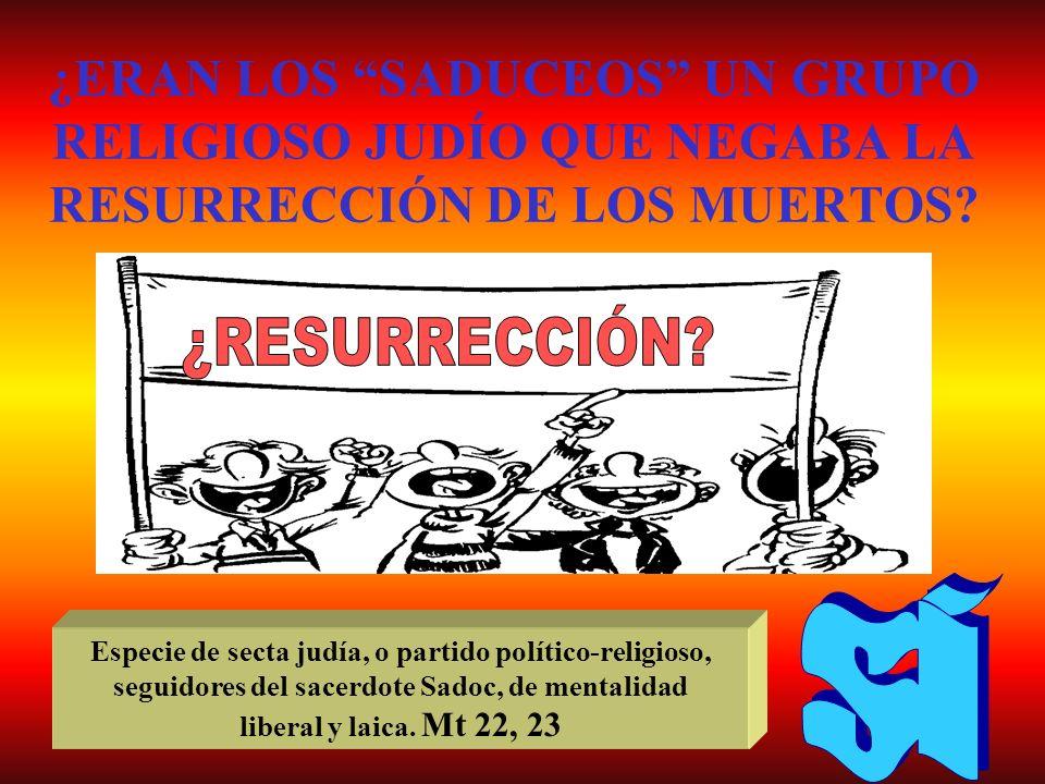 ¿ERAN LOS SADUCEOS UN GRUPO RELIGIOSO JUDÍO QUE NEGABA LA RESURRECCIÓN DE LOS MUERTOS? Especie de secta judía, o partido político-religioso, seguidore