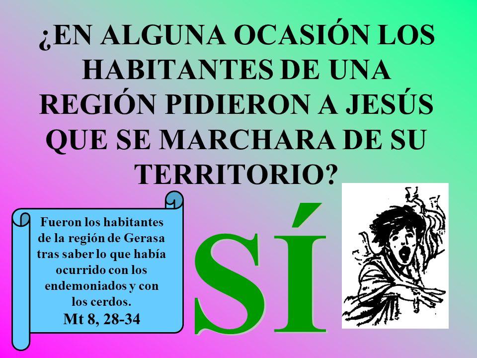 ¿EN ALGUNA OCASIÓN LOS HABITANTES DE UNA REGIÓN PIDIERON A JESÚS QUE SE MARCHARA DE SU TERRITORIO? Fueron los habitantes de la región de Gerasa tras s