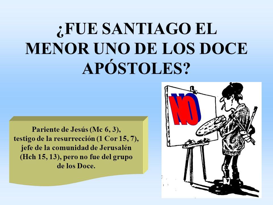 ¿FUE SANTIAGO EL MENOR UNO DE LOS DOCE APÓSTOLES? Pariente de Jesús (Mc 6, 3), testigo de la resurrección (1 Cor 15, 7), jefe de la comunidad de Jerus