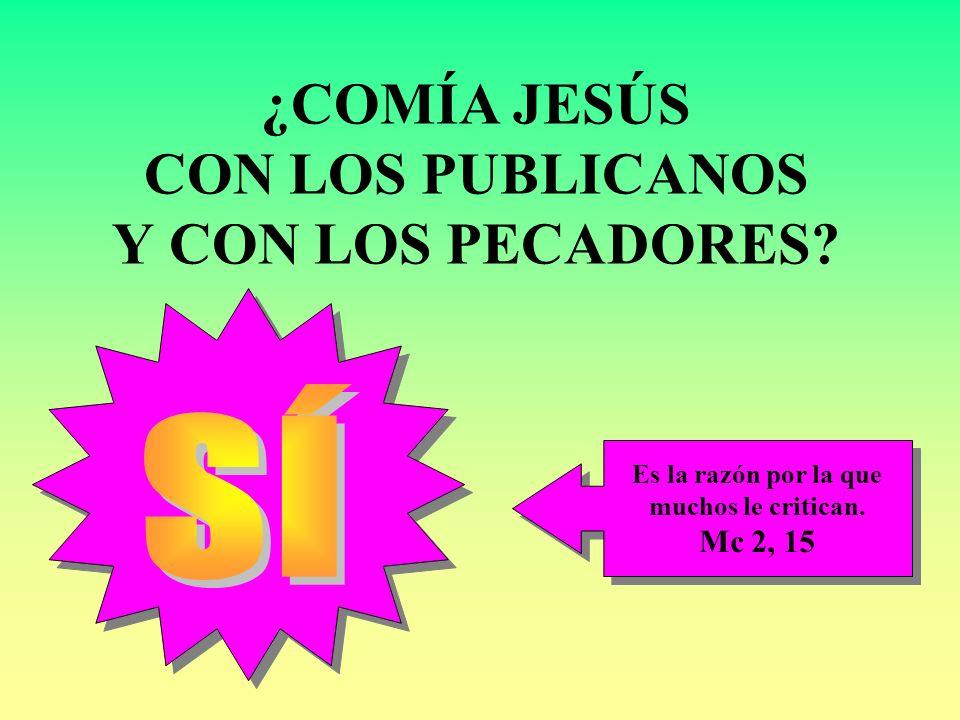 ¿COMÍA JESÚS CON LOS PUBLICANOS Y CON LOS PECADORES? Es la razón por la que muchos le critican. Mc 2, 15 Es la razón por la que muchos le critican. Mc