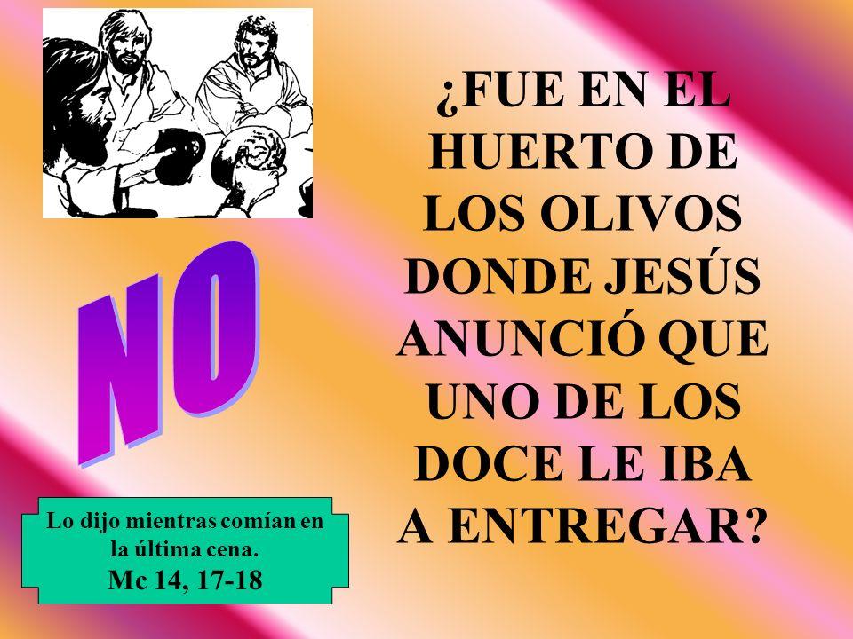 ¿FUE EN EL HUERTO DE LOS OLIVOS DONDE JESÚS ANUNCIÓ QUE UNO DE LOS DOCE LE IBA A ENTREGAR? Lo dijo mientras comían en la última cena. Mc 14, 17-18