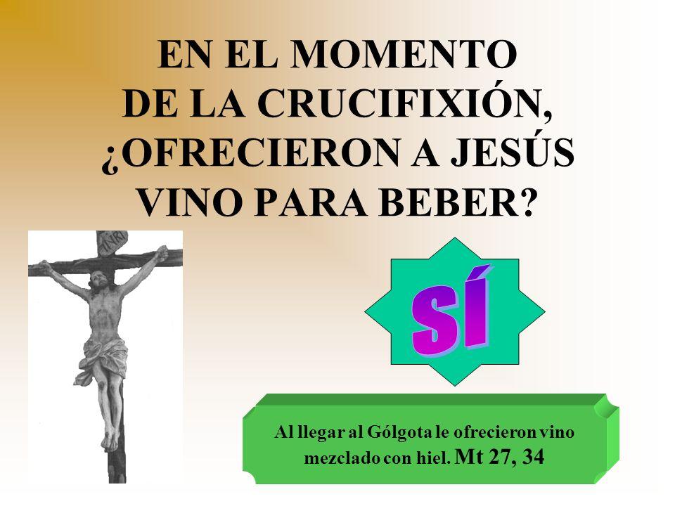EN EL MOMENTO DE LA CRUCIFIXIÓN, ¿OFRECIERON A JESÚS VINO PARA BEBER? Al llegar al Gólgota le ofrecieron vino mezclado con hiel. Mt 27, 34