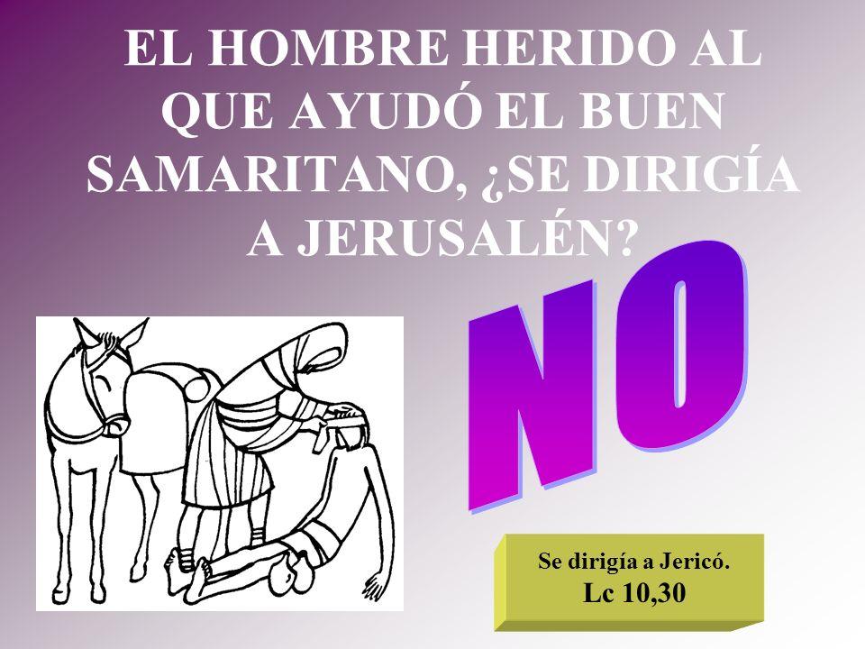 EL HOMBRE HERIDO AL QUE AYUDÓ EL BUEN SAMARITANO, ¿SE DIRIGÍA A JERUSALÉN? Se dirigía a Jericó. Lc 10,30