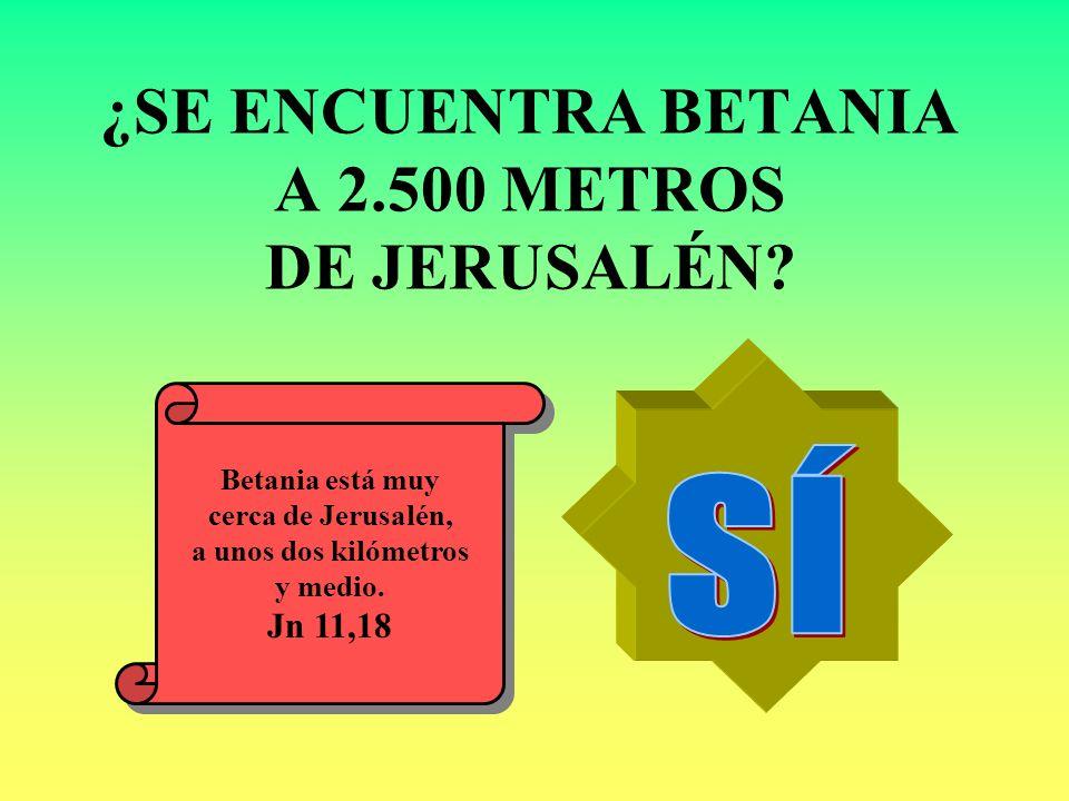 ¿SE ENCUENTRA BETANIA A 2.500 METROS DE JERUSALÉN? Betania está muy cerca de Jerusalén, a unos dos kilómetros y medio. Jn 11,18 Betania está muy cerca