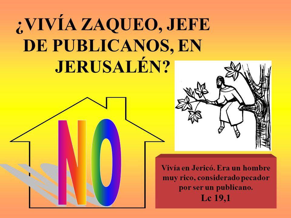 ¿VIVÍA ZAQUEO, JEFE DE PUBLICANOS, EN JERUSALÉN? Vivía en Jericó. Era un hombre muy rico, considerado pecador por ser un publicano. Lc 19,1