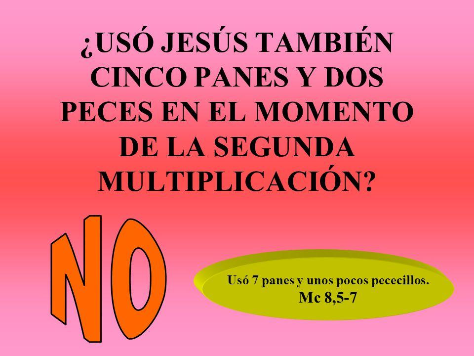 ¿USÓ JESÚS TAMBIÉN CINCO PANES Y DOS PECES EN EL MOMENTO DE LA SEGUNDA MULTIPLICACIÓN? Usó 7 panes y unos pocos pececillos. Mc 8,5-7
