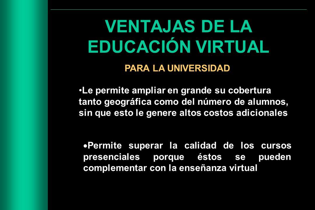 VENTAJAS DE LA EDUCACIÓN VIRTUAL PARA LA UNIVERSIDAD Le permite ampliar en grande su cobertura tanto geográfica como del número de alumnos, sin que es