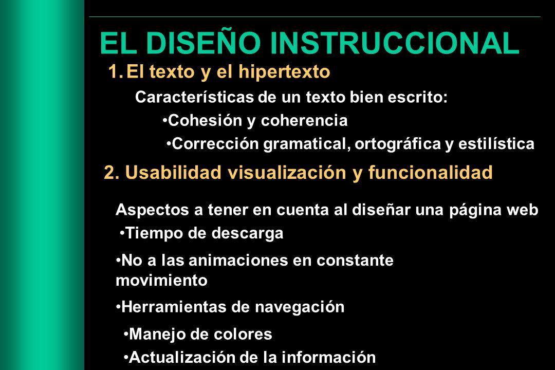 EL DISEÑO INSTRUCCIONAL 1.El texto y el hipertexto 2. Usabilidad visualización y funcionalidad Características de un texto bien escrito: Cohesión y co