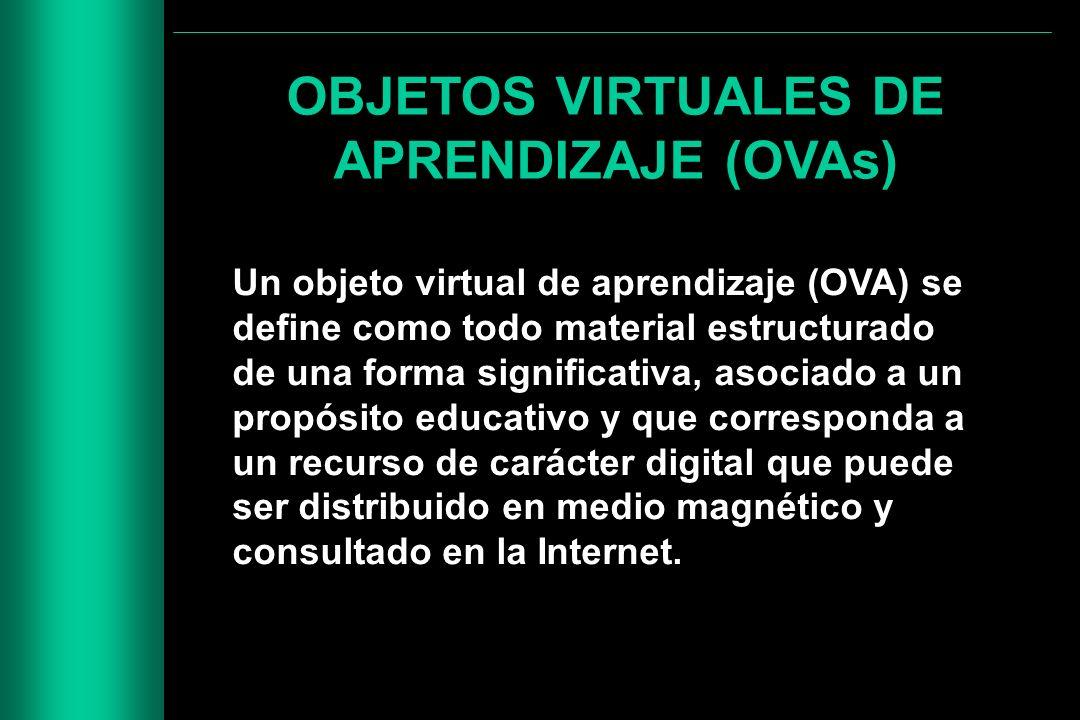 OBJETOS VIRTUALES DE APRENDIZAJE (OVAs) Un objeto virtual de aprendizaje (OVA) se define como todo material estructurado de una forma significativa, a