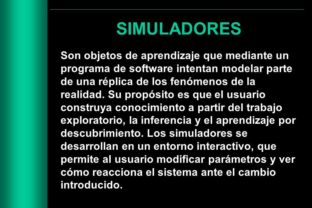 SIMULADORES Son objetos de aprendizaje que mediante un programa de software intentan modelar parte de una réplica de los fenómenos de la realidad. Su