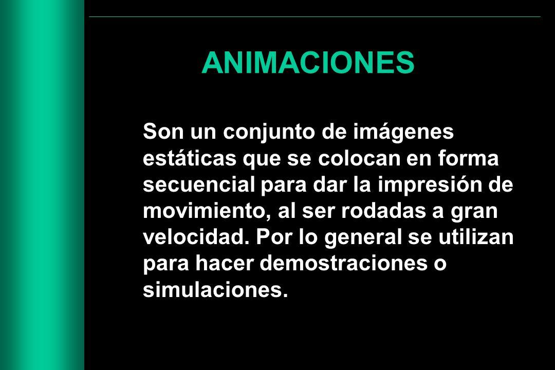 ANIMACIONES Son un conjunto de imágenes estáticas que se colocan en forma secuencial para dar la impresión de movimiento, al ser rodadas a gran veloci