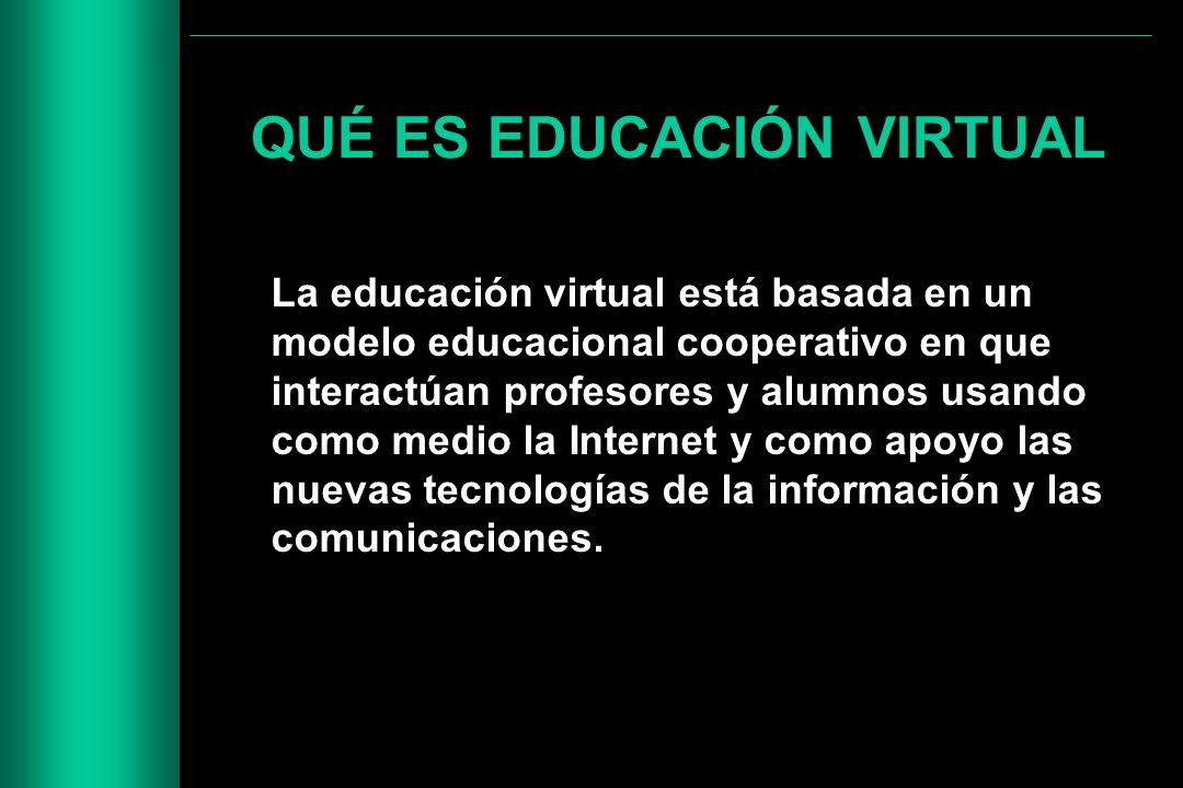 QUÉ ES EDUCACIÓN VIRTUAL La educación virtual está basada en un modelo educacional cooperativo en que interactúan profesores y alumnos usando como med